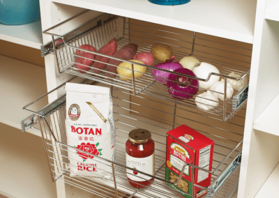 White Corner Pantry with Wire Basket Drawer
