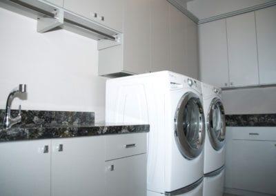 Fog Gray Laundry with Quartz Countertop